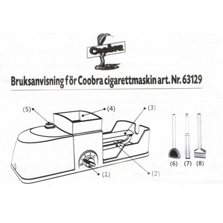 Bruksanvisning för Coobra elektriska cigarettmaskin